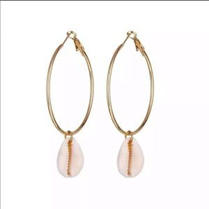 Simple Gold Accent Shell Drop Earrings